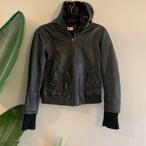 June Black Lambskin Leather ZIP Up Jacket Hoodie